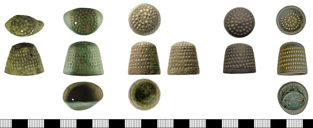 16th-century thimbles with large indentations in a right-hand spiral. From left: DUR-A83786 and SUR-8238B3 (lightweight sheet thimbles); IOW-49176B, OXON-1309EC and DOR-F564E2 (more heavy-duty thimbles).