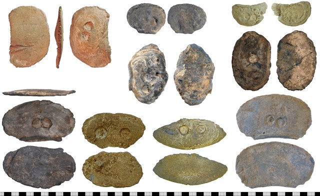 A selection of palm guards with circular depressions, many of which appear to have been cast in shells. Top row: NLM-0B3AC9, YORYM-91DDB1, LVPL-8557B5. Middle row: YORYM-CE1C07, YORYM-A6BDF2. Bottom row: LANCUM-FC0A41, NARC-2CBA8A, NARC-8B37D9, DUR-B1AFC6.