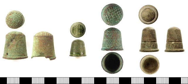 Mass-produced copper-alloy thimbles dating to c. 1750-1900. From left, SWYOR-56DBD2, SUSS-6AF575, SUSS-DC9CF3, IOW-734EED.