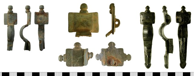 Cruciform brooches with integral knobs (NMS-027251, YORYM-13ED43, NMS-A51D6D and SF-178685)