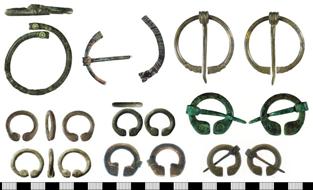 Penannular brooches. Top row, Type F: SWYOR-4A2BC7, YORYM-F1BE89, YORYM-7713B8 and LIN-0C0594. Bottom two rows, Type G: IOW-4ECBF1 and LIN-35B2BE (left), LANCUM-0AF673 and SWYOR-213050 (centre), YORYM-554033 and SWYOR-6EA057 (right).