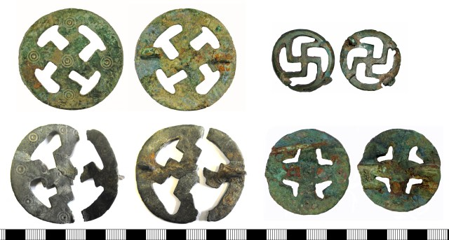 Openwork disc brooches on the PAS database. Left, top to bottom: YORYM-285423 and NARC-C95B71. Right, top to bottom: LANCUM-AE3751 and NMS-04C8E5.