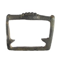Medieval strap-slide of trapezoidal form with internal projections. Note the top is decorated in resemblance of a bar mount (LIN-3AF3E1)