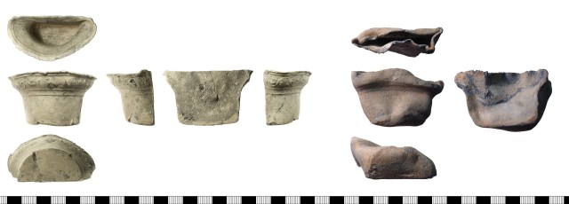 Bird feeders, probably of 16th- or 17th-century date. Left: IOW-FEB074, with decorated frieze around the rim. Right: PUBLIC-2F0163, undecorated.