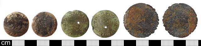 Medieval Nuremberg jettons: Mainz type (left, LON-2899C0); Mainz/Bavaria type (centre, HAMP-67AC03); Western type (right, PUBLIC-89BCA9). Copyrights: The Portable Antiquities Scheme; Winchester Museum Service; The Portable Antiquities Scheme; CC-BY licence)