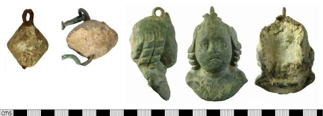 Roman steelyard weights: Biconical with two iron loops (left, WILT-209BB6); Biconical with central hole, detail from from steelyard (centre, WMID-184456); Anthropomorphic copper-alloy cased (right, HAMP-079895). Copyright: Salisbury and South Wiltshire Museum; Birmingham Museums Trust; Winchester Museum Service; CC-BY licence)