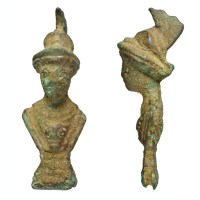 Roman spatula handle of Feugère type A5 depicting Minerva (SF-EF9297). Copyright: Suffolk County Council; CC-BY licence)