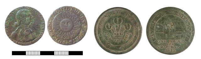 Late 18th-century 'Conder' token from Banbury (left, SUR-584F19); early 19th-century token from Redruth (right, CORN-D77C16). Copyright: Surrey County Council; Royal Institution of Cornwall; CC-BY licence)