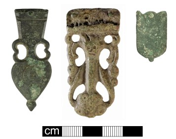 Strap-ends: Roman amphora type (left, WILT-B0F593); early-medieval Thomas Class E, Type 2 (centre, NMS-199370); Medieval composite example (right, SUR-5CE4F3). Copyright: Salisbury and South Wiltshire Museum; Norfolk County Council; Surrey County Council; CC-BY-SA licence)