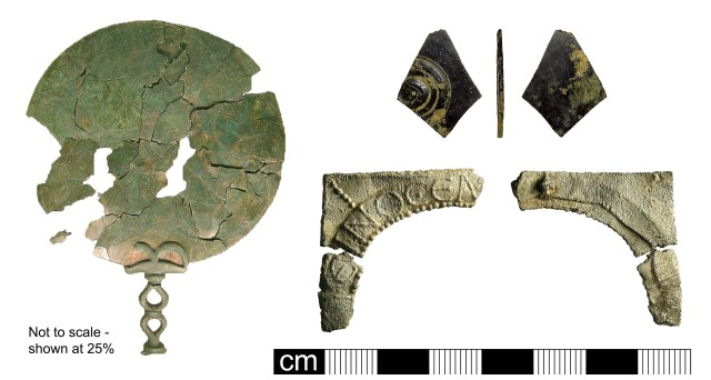 Mirrors: Late Iron Age mirror (left, BH-B85CF3); possible speculum Roman mirror (top right, LEIC-E77BF2); Roman lead-alloy mirror frame (bottom right, BH-584656). Copyright: The Portable Antiquities Scheme; St. Albans District Council; CC-BY-SA licence)