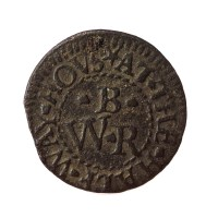 Post-medieval trade token farthing token, private issue (LON-FDA3BD). Copyright: The Portable Antiquities Scheme; CC-BY licence)