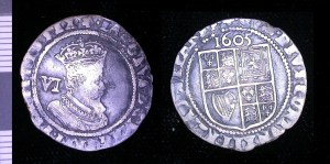 Silver sixpence of James I, dated 1605.