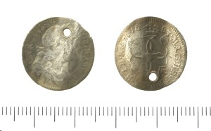 Fourpence of Charles II, pierced and bent