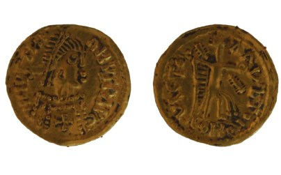 Early medieval gold visigothic tremissis