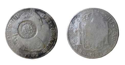 A Cromford Dollar (Spanish silver 8 Reales coin)