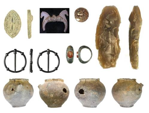 Image of 7 finds. Top row left to right are a seal matrix, a Roman buckle with horses on it, a gold Iron Age coin, a flint blade. Middle row: a circular medieval brooch, a Roman ring with an orange stone set into it. Bottom row: four views of a Roman pottery vessel.