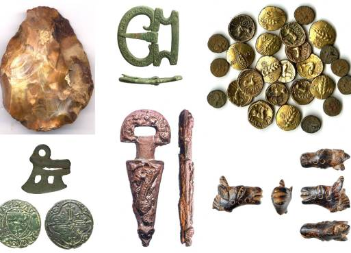 Images of finds found in Buckinghamshire. Top row from left to right: a Palaeolithic flint handaxe, a Roman buckle, a pile of Iron Age gold coins. Bottom row from left to right: a copper alloy Iron Age razor blade, front and back views of a post-medieval token, an unidentified dagger-shaped object, a Roman horse head figurine.