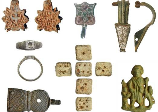 Image of 7 archaeological finds found in Gloucestershire.