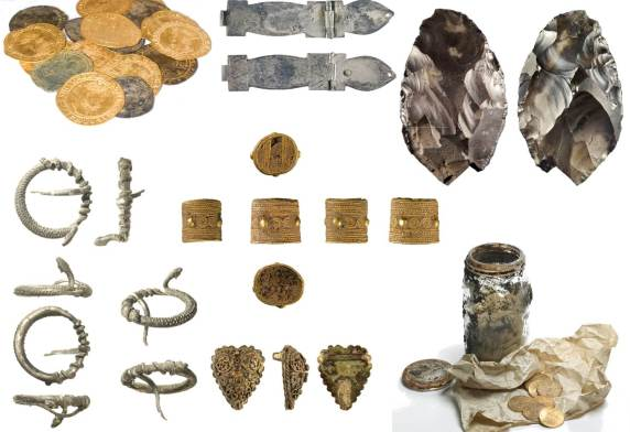 Image of seven Treasure finds from the PAS Database.