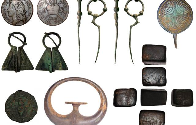 Image of seven archaeological finds found in Lancashire.