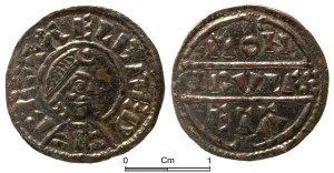 Penny of Alfred the Great's first coinage, c. 871-875 (PUBLIC-A00281)