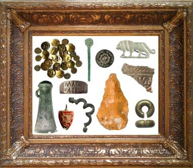 Image of archaeological finds inside a picture frame to illustrate the bigger picture theme.