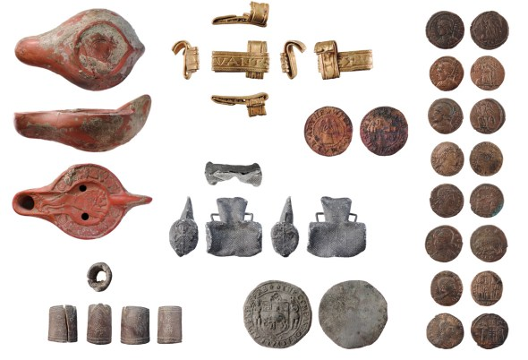 Image of seven archaeological finds from London.