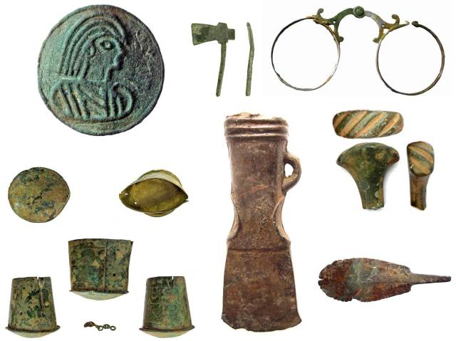 Image of seven archaeological finds from Oxfordshire.