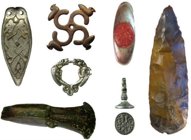 Image of seven archaeological finds that were donated to museum by finders.