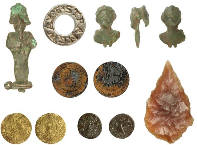 Image of seven archaeological finds from Somerset.