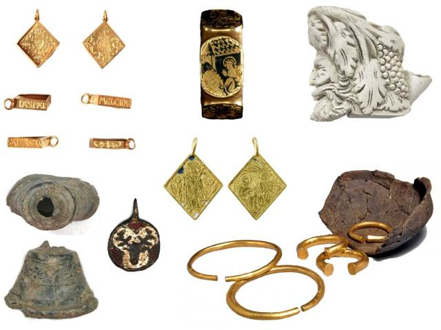 Image of seven archaeological finds relating to Christmas.