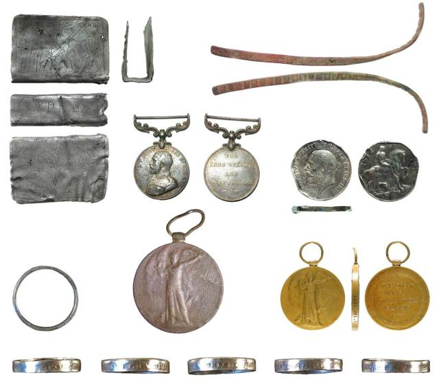 Image of seven archaeological finds relating to Remembrance.