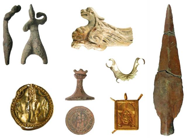 Image of seven archaeological finds from the West Midlands.