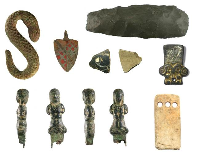 Image of seven archaeological finds from Worcestershire.