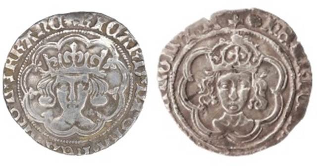 Image of two silver coins side by side. The left coin depicts Richard III and the right coin depicts Henry VII.