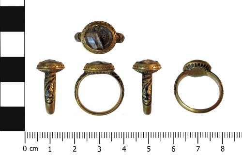 An image showing 5 views of a gold ring. The topmost view shows the front of the bezel, which is set with a rock crystal. Beneath it are 4 views showing the top and bottom of the ring and either side.