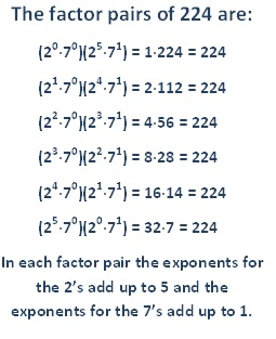 factor pairs for 224