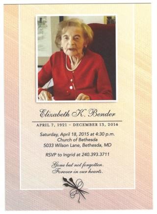 Elizabeth Bender memorial service