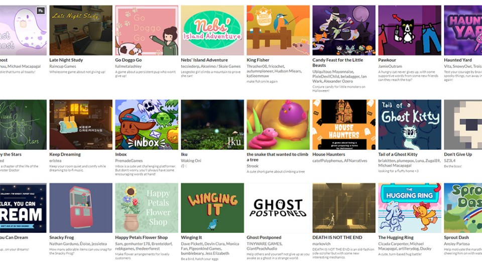 A selection of games submitted to the Wholesome Games Jam