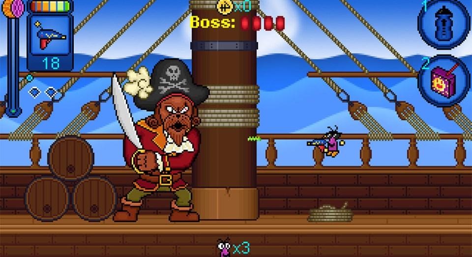A boss fight in Juiced!