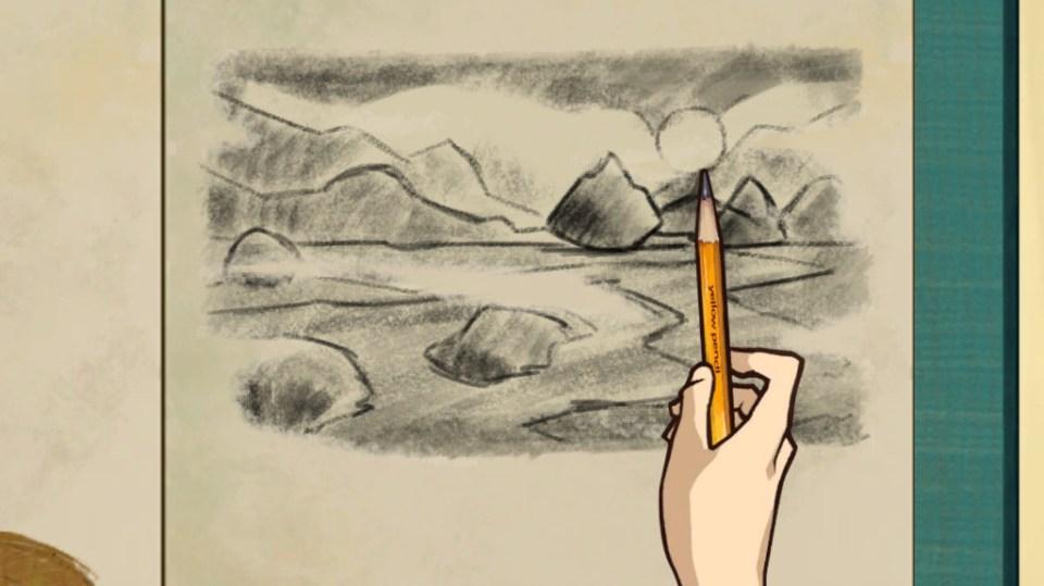 Sketching a landscape