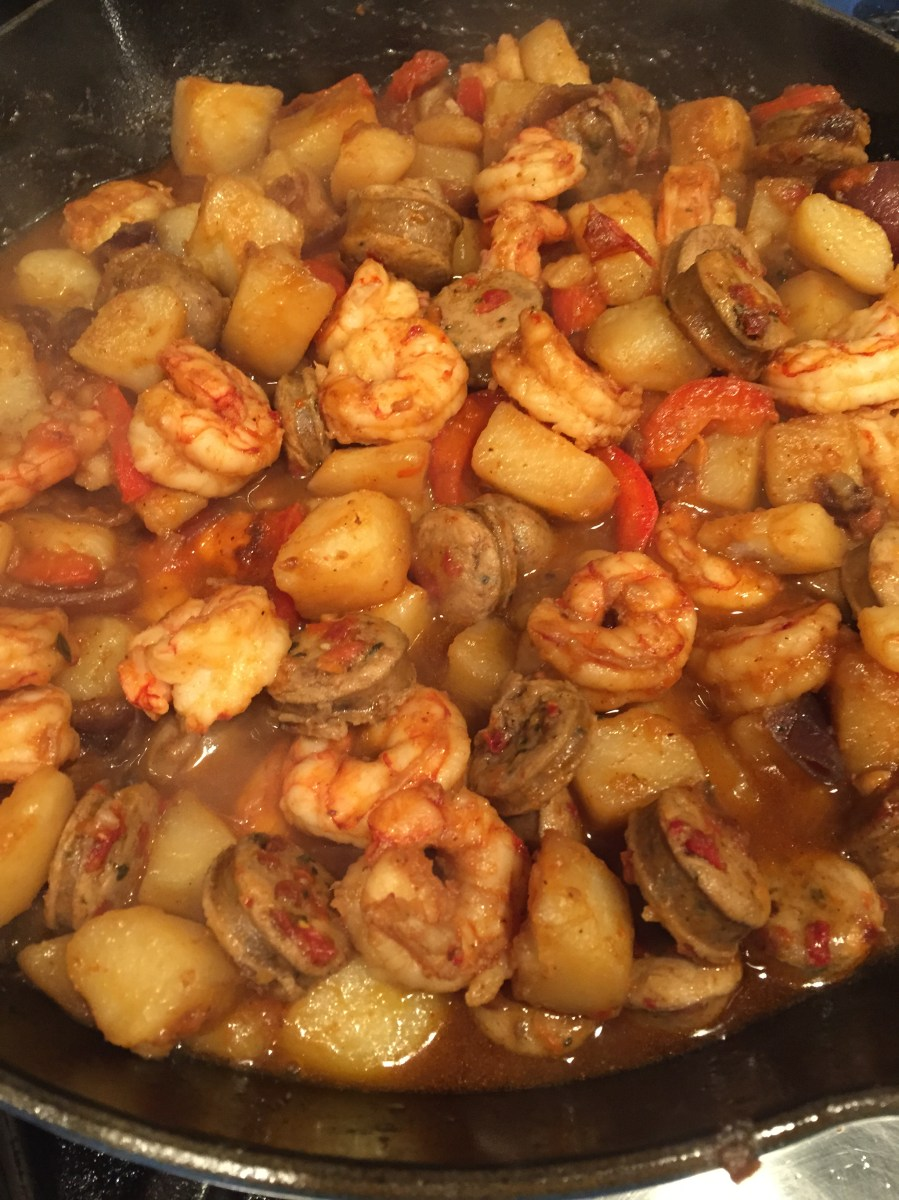 Sausage Peppers and Onions with Shrimp  Find the Time to