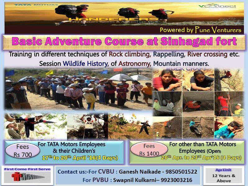 basic adventure course at sinhagad fort