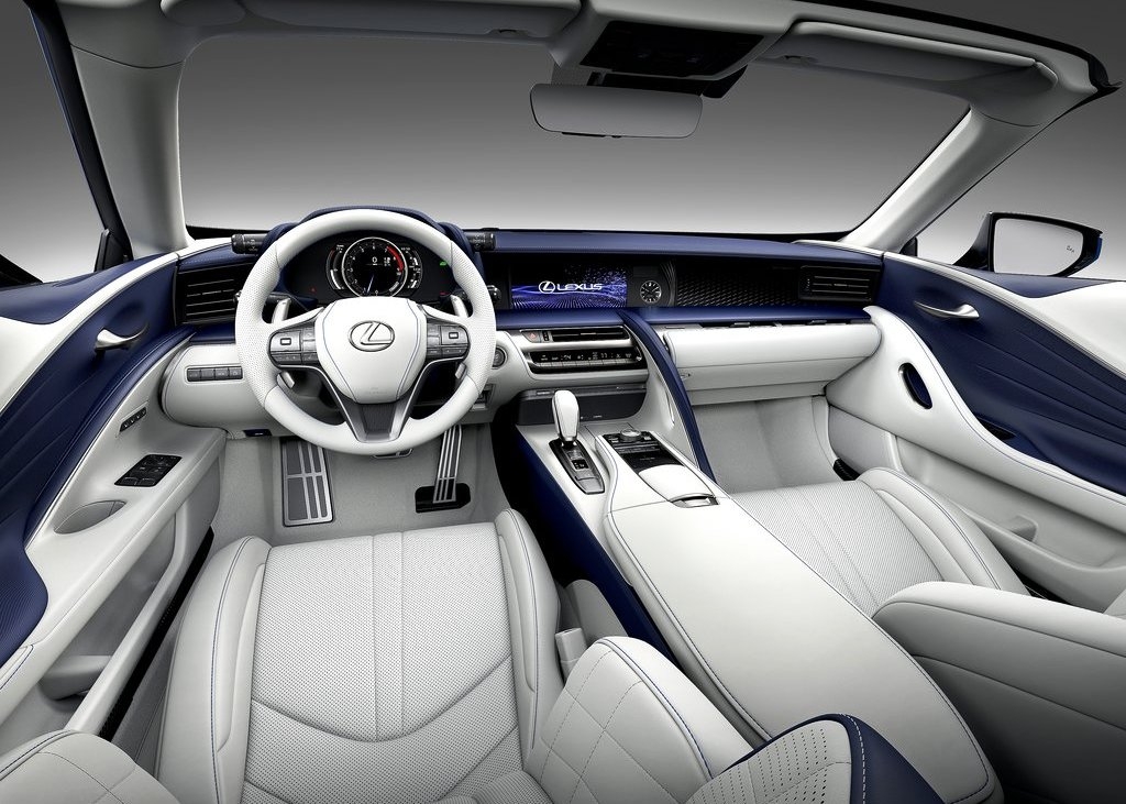 2021 Lexus LC 500 Convertible Interior White Seating and Steering Wheel