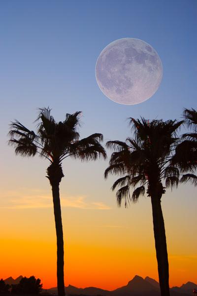 colorful full moon sunset fine art photography print.