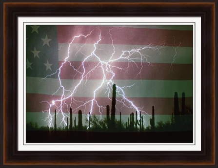 Lightning Storm in the USA Desert Flag Background Framed Print