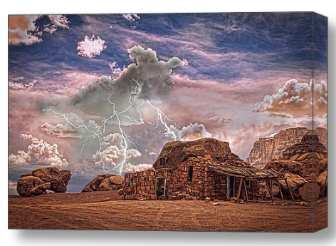 Southwest Navajo Rock House and Lightning Strikes HDR Stretched Canvas Print / Canvas Art