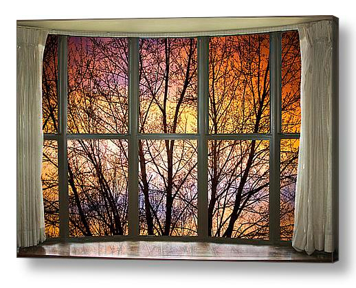 Sunset Into the Night Bay Window View Discover Beauty of Windows Scenic Views With Window Fine Art Prints
