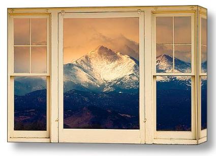 Twin Peaks Meek and Longs Peak Window View Discover Beauty of Windows Scenic Views With Window Fine Art Prints