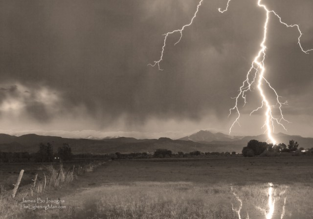 Lightning Striking Longs Peak Foothills 5aBWsepia800s Lightning Striking Longs Peak Foothills 5BW Sepia